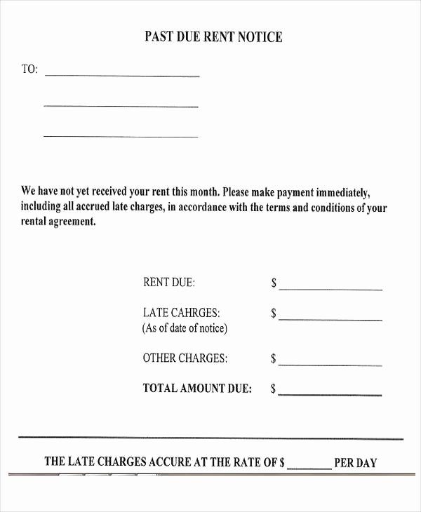 Past Due Rent Letter Elegant Notice form Example