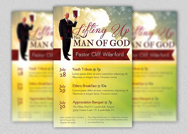 Pastoral Anniversary Program Templates Awesome Pastor Appreciation Church Flyer Template