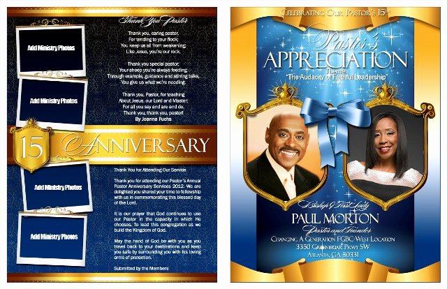 Pastor and Wife Anniversary Celebration Program Bulletins
