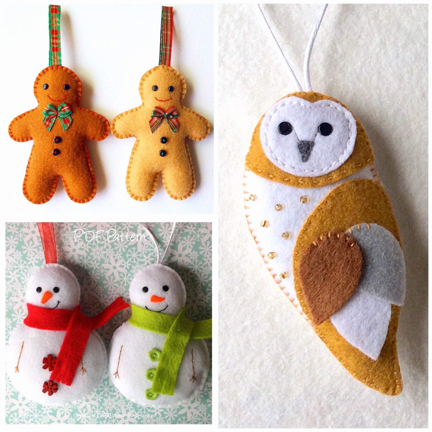 Patterns for Gingerbread Men Awesome Set Of 3 Felt Patterns Gingerbread Man Snowman and Barn Owl