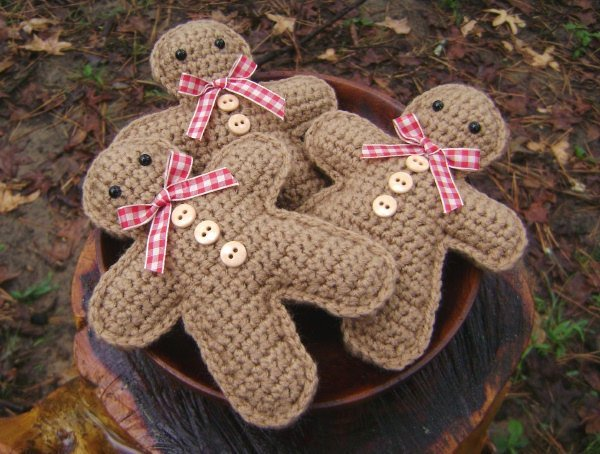 Patterns for Gingerbread Men Beautiful Crochet Gingerbread Man Set Of 3 Christmas Decoration Bowl