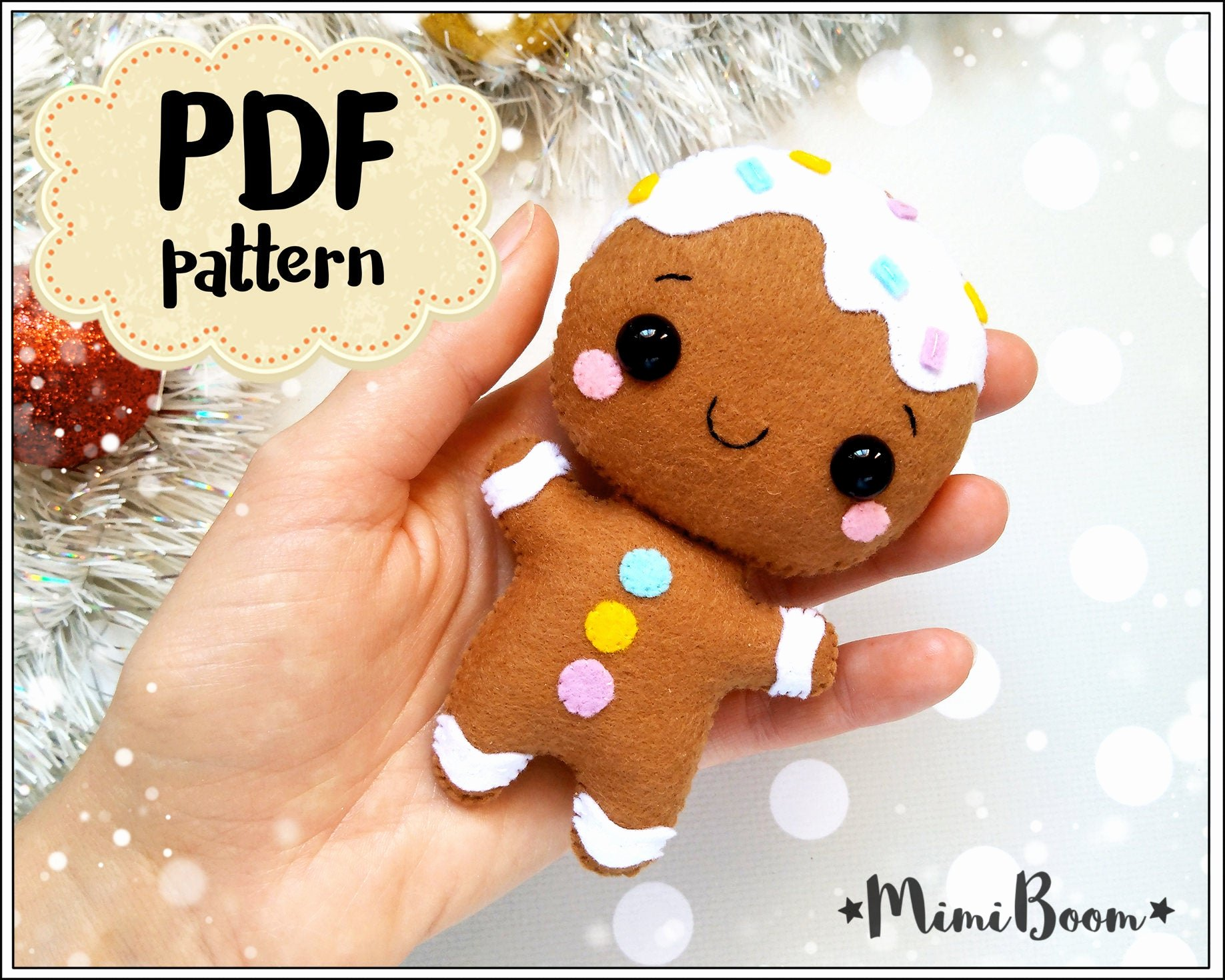 Patterns for Gingerbread Men Beautiful Gingerbread Man Felt Pattern Christmas Pattern Felt