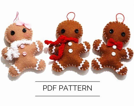 Patterns for Gingerbread Men Best Of Diy Gingerbread Man ornament Pdf Pattern Christmas