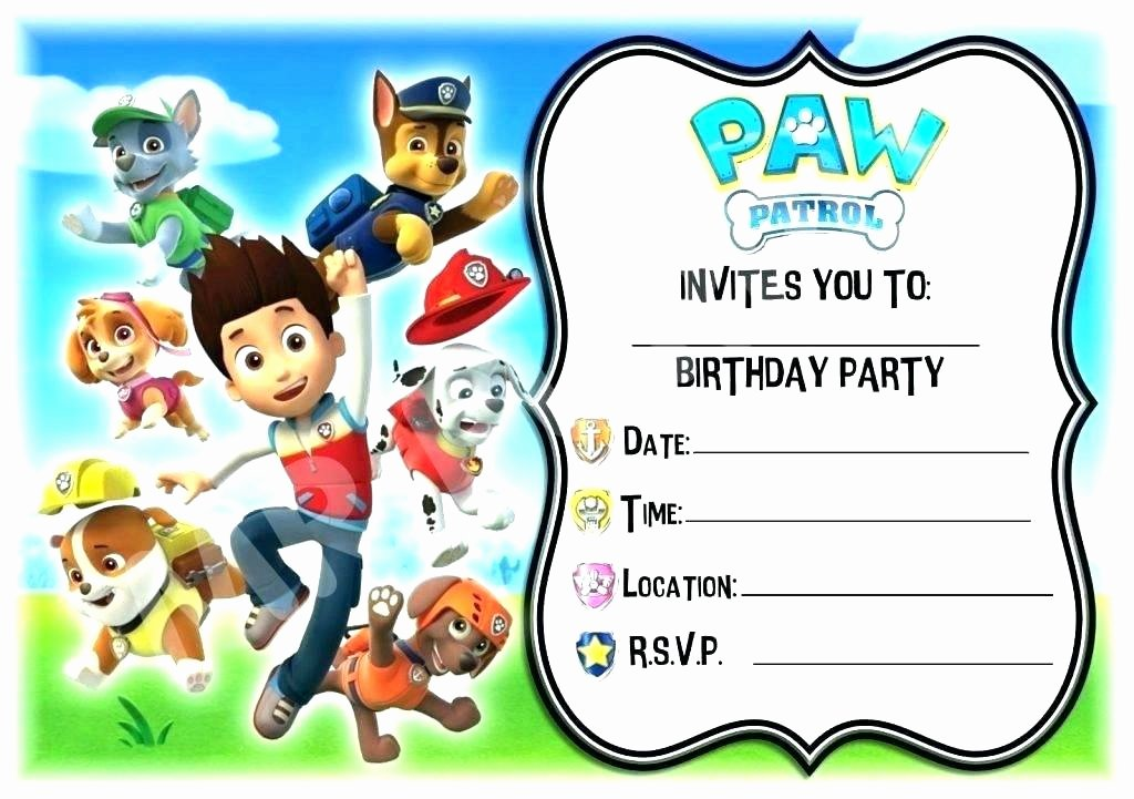 Paw Patrol Invitation Template Free Awesome Paw Patrol Birthday Invitation Template Free