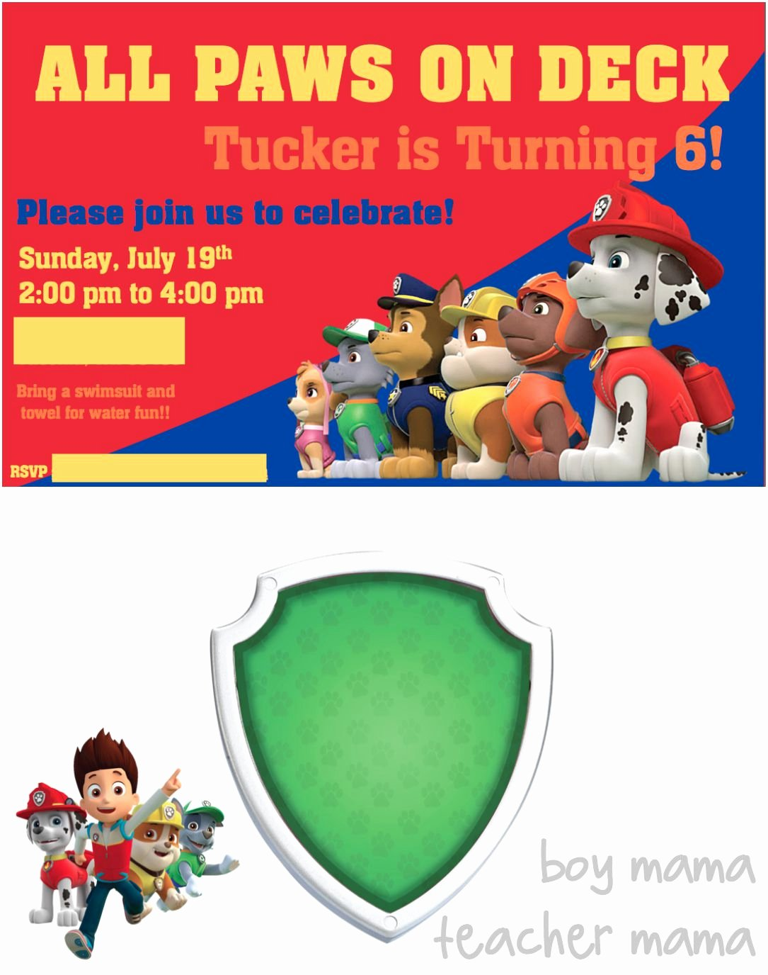 Paw Patrol Invitation Template Free Awesome Paw Patrol Birthday Party Boy Mama Teacher Mama