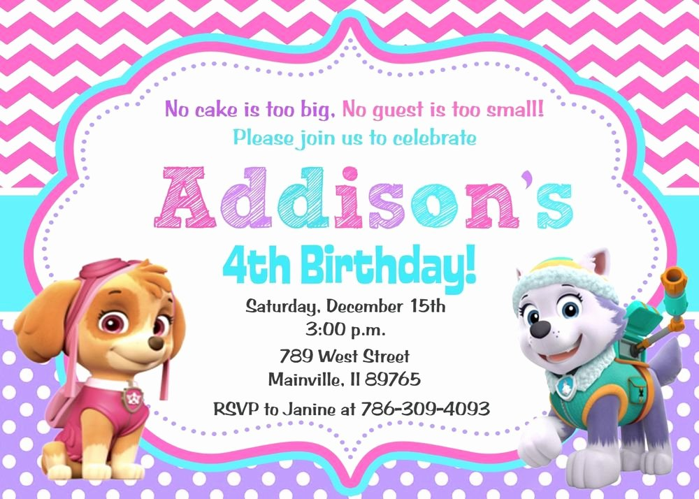 Paw Patrol Invitation Template Free Best Of Paw Patrol Skye Everest Girl Birthday Party Invitation