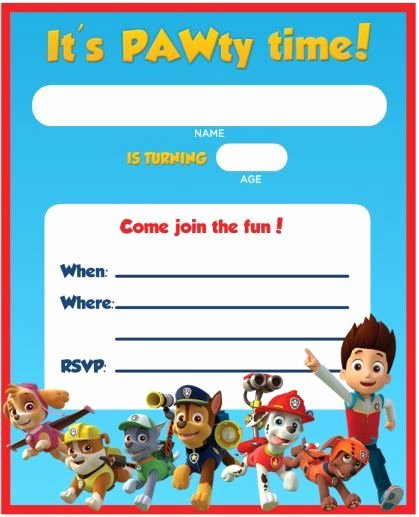 Paw Patrol Invitation Template Free Fresh Free Printable Paw Patrol Birthday Invitation Ideas