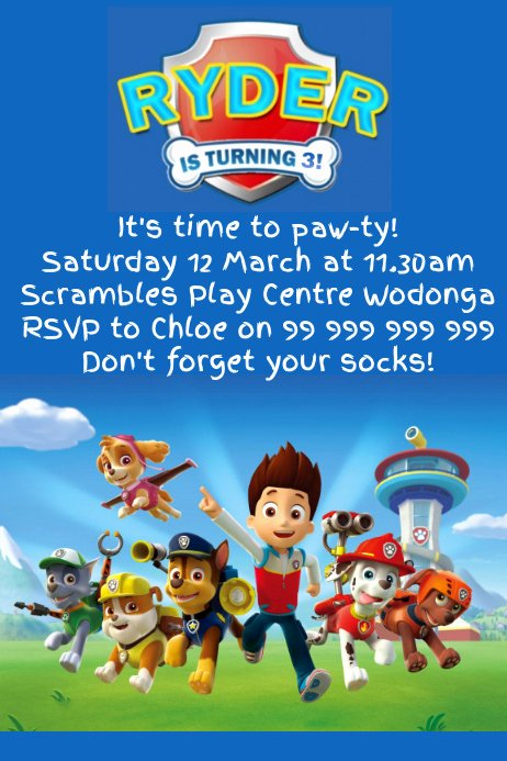 Paw Patrol Invitation Template Free Inspirational Paw Patrol Party Invitation Template