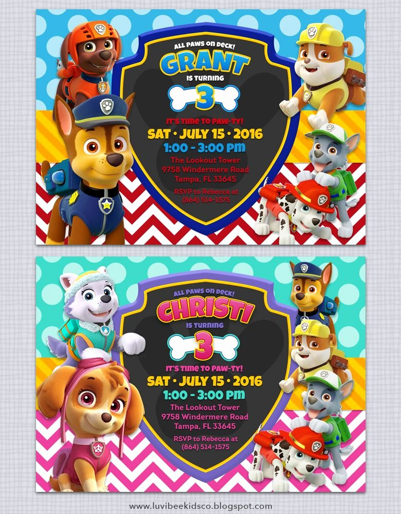 Paw Patrol Invitation Template Free Lovely Free Paw Patrol Invitation Printable Free Paw Patrol