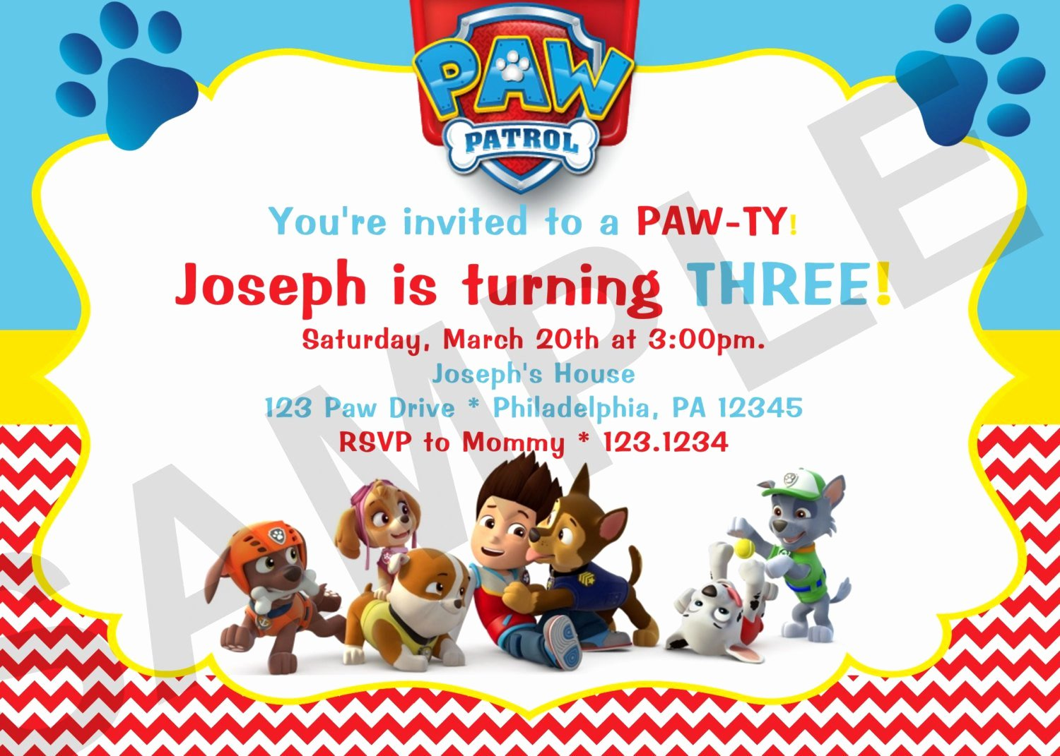 Paw Patrol Invitation Template Free Luxury Paw Patrol Birthday Invitations Paw Patrol Birthday