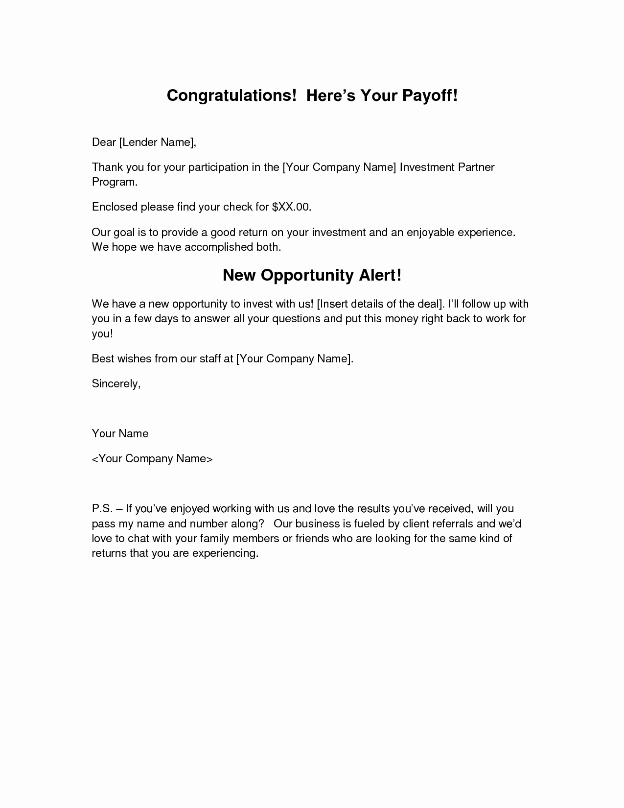 Pay Off Letter Sample New Loan Payoff Request Letter Sample