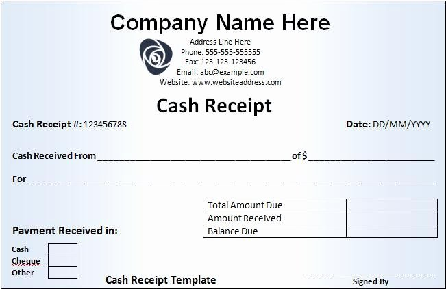 Payment Receipt format In Word Elegant Cash Receipt Template