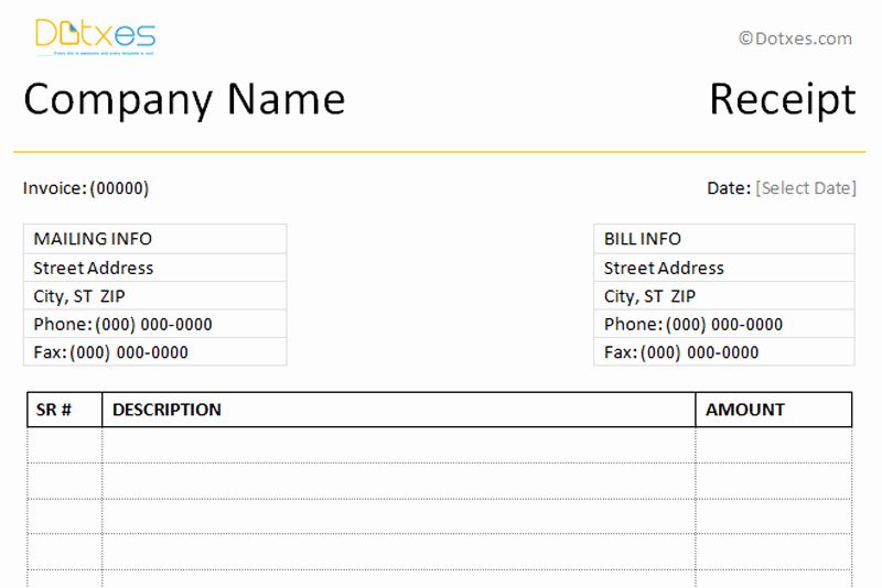 Payment Receipt format In Word Fresh Receipt Templates Dotxes