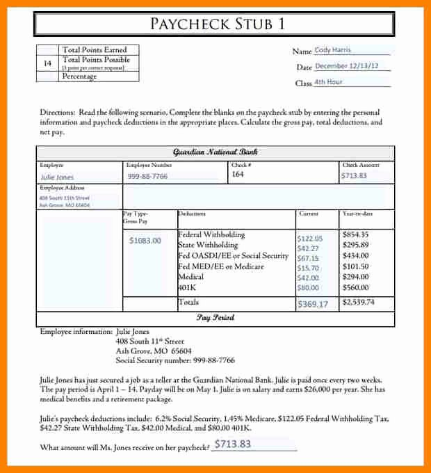 Pdf Pay Stub Template Free Beautiful 5 Paycheck Template Pdf