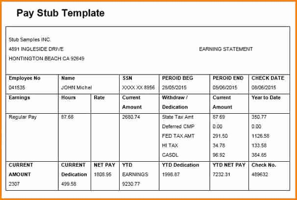 Pdf Pay Stub Template Free Best Of 6 Free Editable Pay Stub Template