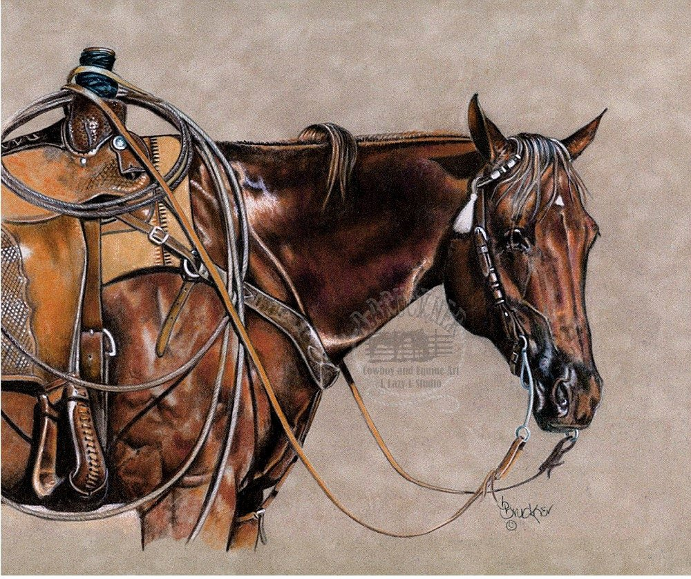 Pencil Sketches Of Horses Awesome Colored Pencil Quarter Horse Western Rope Horse Print by B