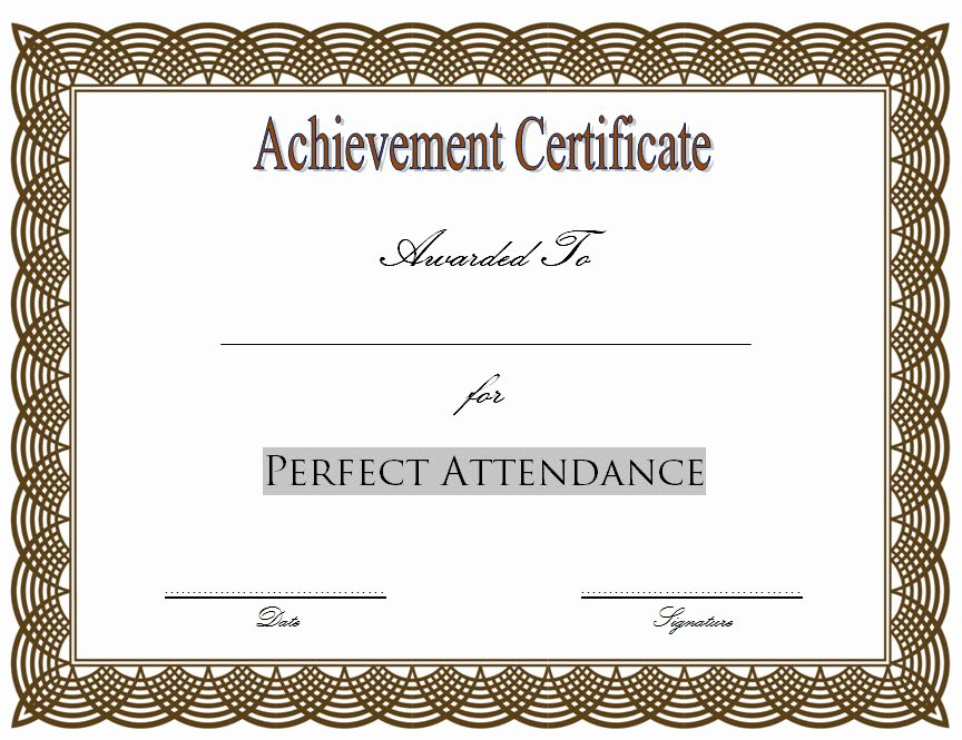 Perfect attendance Certificate Printable Awesome 8 Printable Perfect attendance Certificate Template Designs