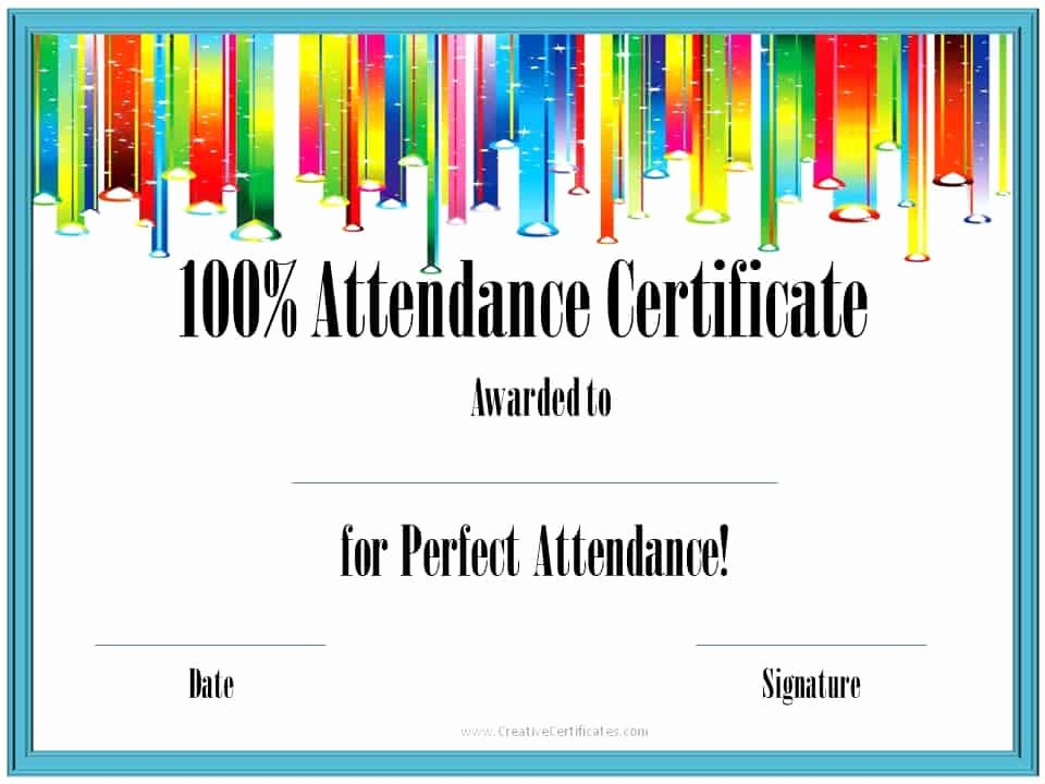 Perfect attendance Certificate Printable Best Of Perfect attendance Award Certificates