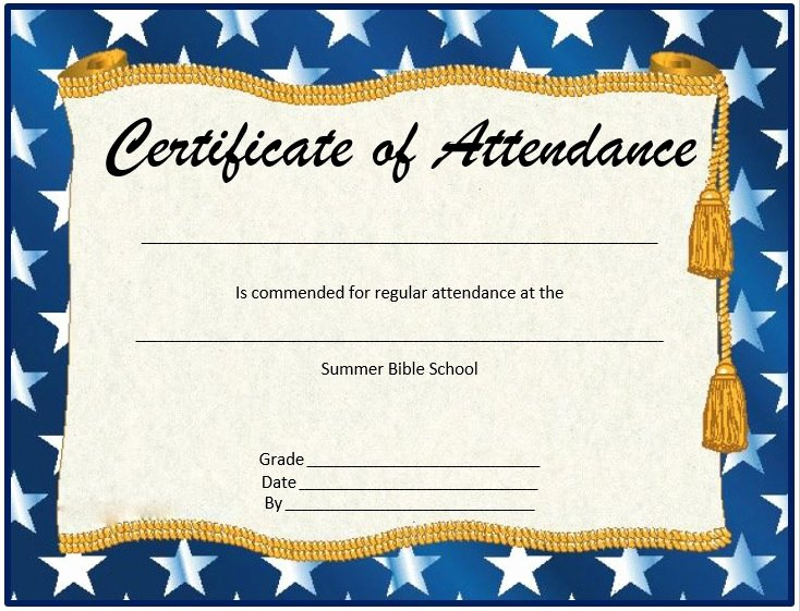 Perfect attendance Certificate Printable Elegant 8 Free Sample attendance Certificate Templates Printable