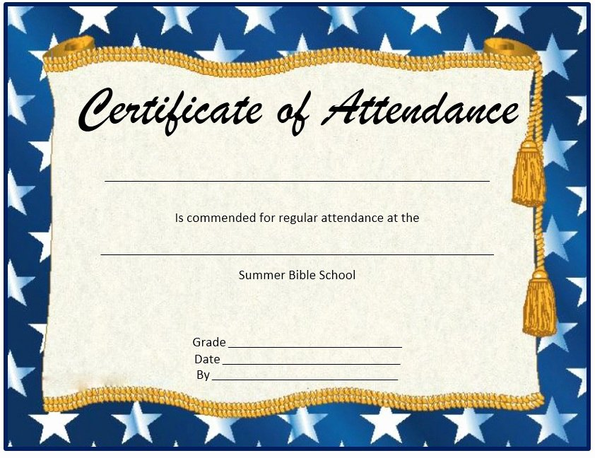 Perfect attendance Certificate Printable Fresh 13 Free Sample Perfect attendance Certificate Templates