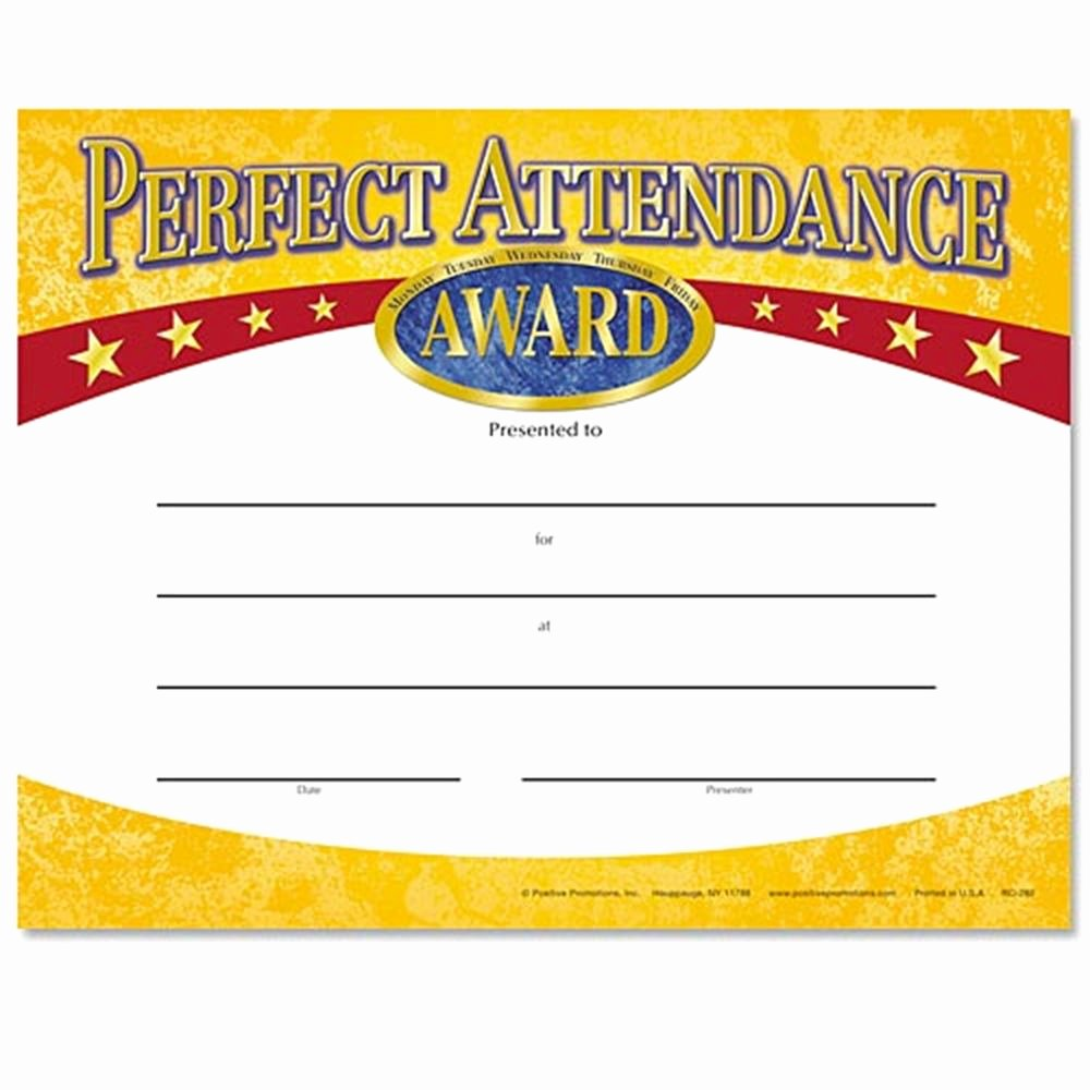 Perfect attendance Certificate Printable Fresh Perfect attendance Yellow Gold Foil Stamped Certificates