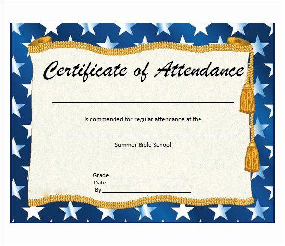 Perfect attendance Certificate Printable Inspirational 23 Sample attendance Certificate Templates In Illustrator