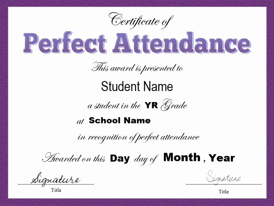 Perfect attendance Certificate Printable Inspirational 8 Free Sample attendance Certificate Templates Printable