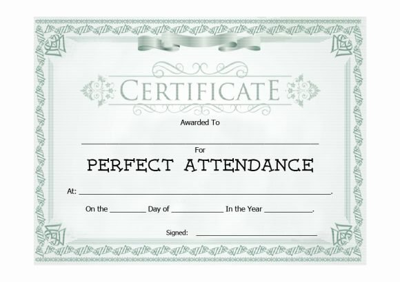 Perfect attendance Certificate Printable Lovely 40 Printable Perfect attendance Award Templates & Ideas