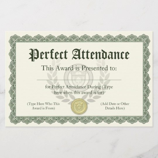 Perfect attendance Certificate Printable Lovely Perfect attendance Award Certificate Customizable