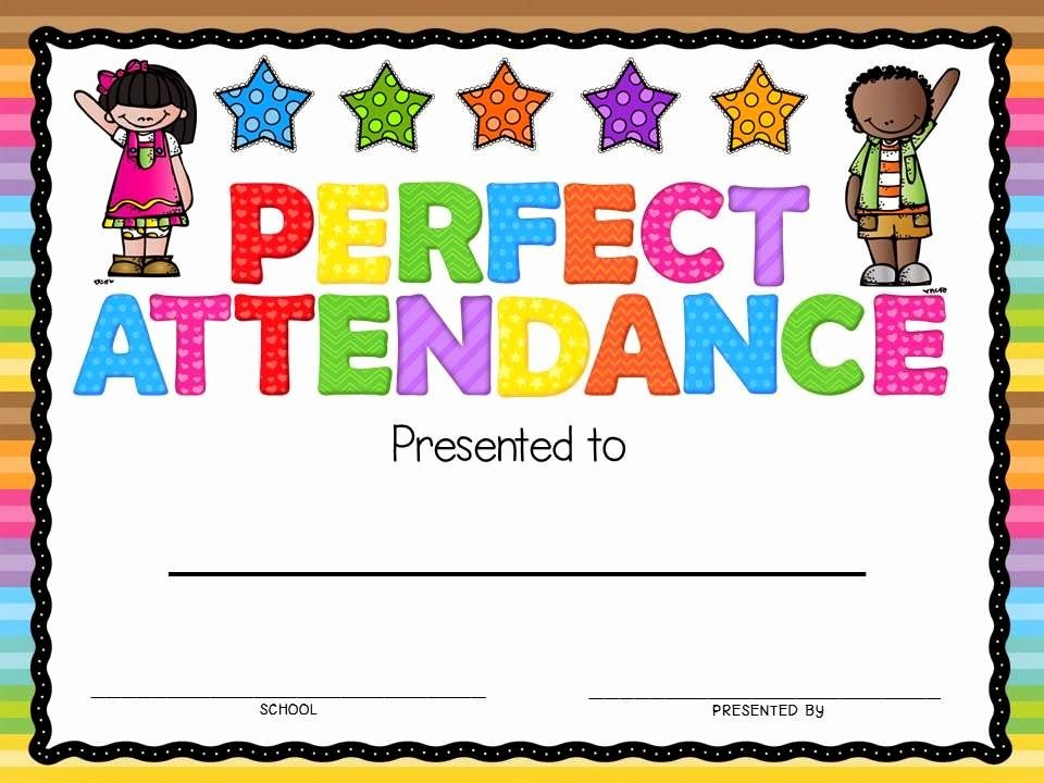 Perfect attendance Certificate Printable Lovely Perfect attendance Award