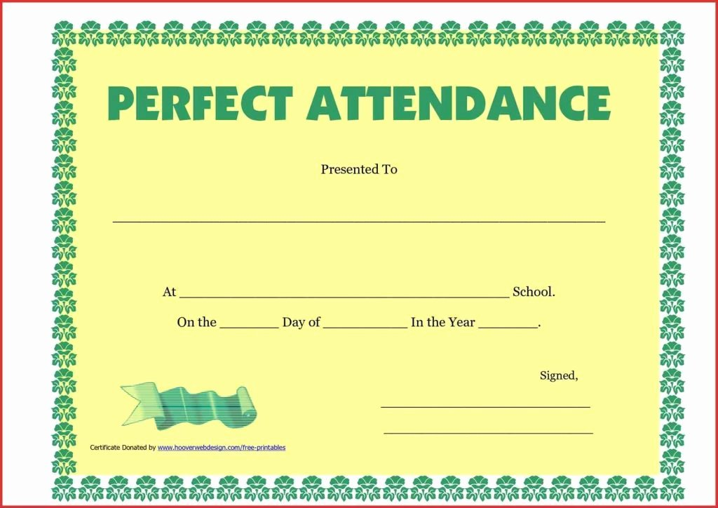 Perfect attendance Certificate Printable New Free Perfect attendance Certificate Template Image
