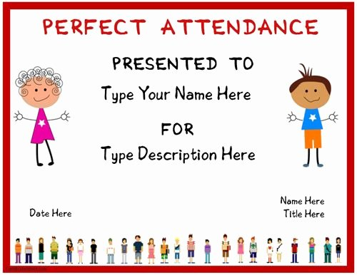Perfect attendance Certificate Printable Unique Education Certificate Certificate for Perfect attendence