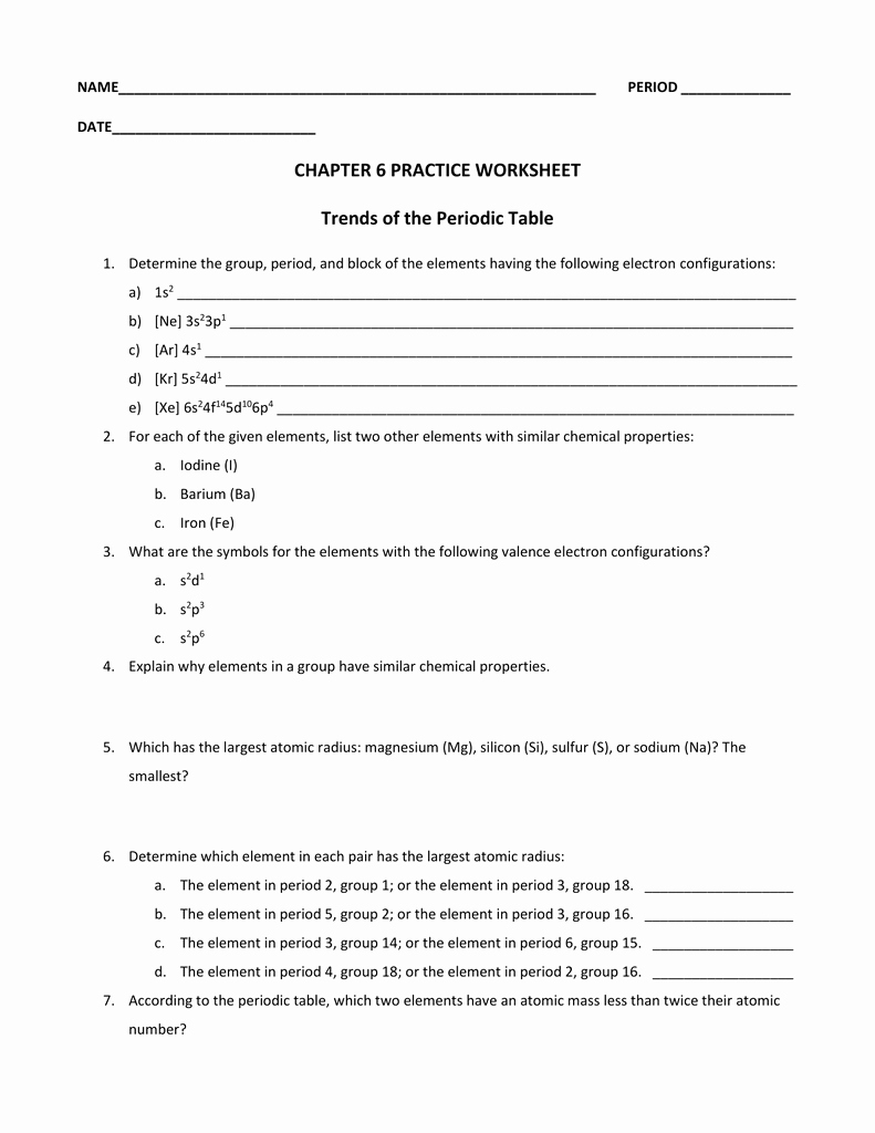 Periodic Table Practice Worksheet Elegant Chapter 6 Practice Worksheet Trends Of the Periodic Table