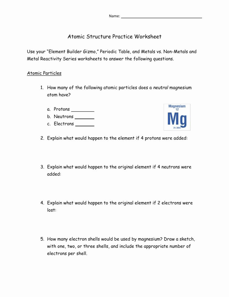 Periodic Table Practice Worksheet Fresh atomic Structure Practice Worksheet