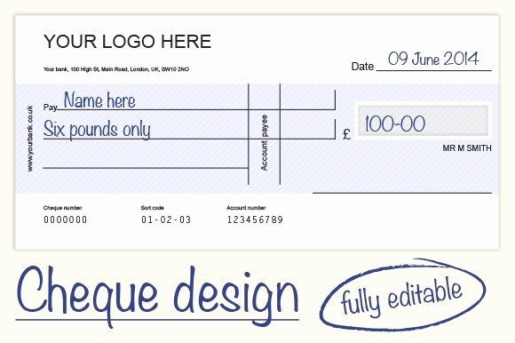 Personal Check Template Word New Cheque Check Design 4 Colours Graphics Creative Market