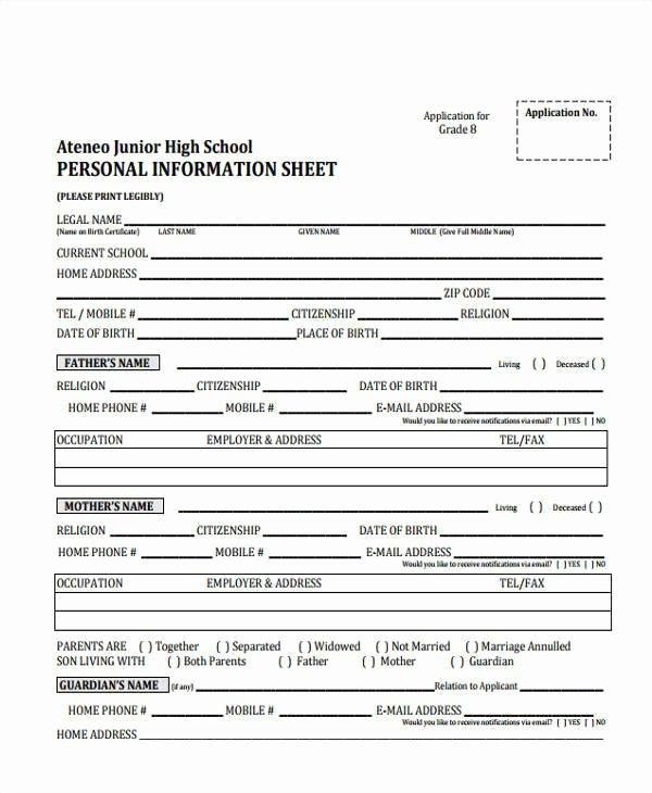 sample information sheet templates