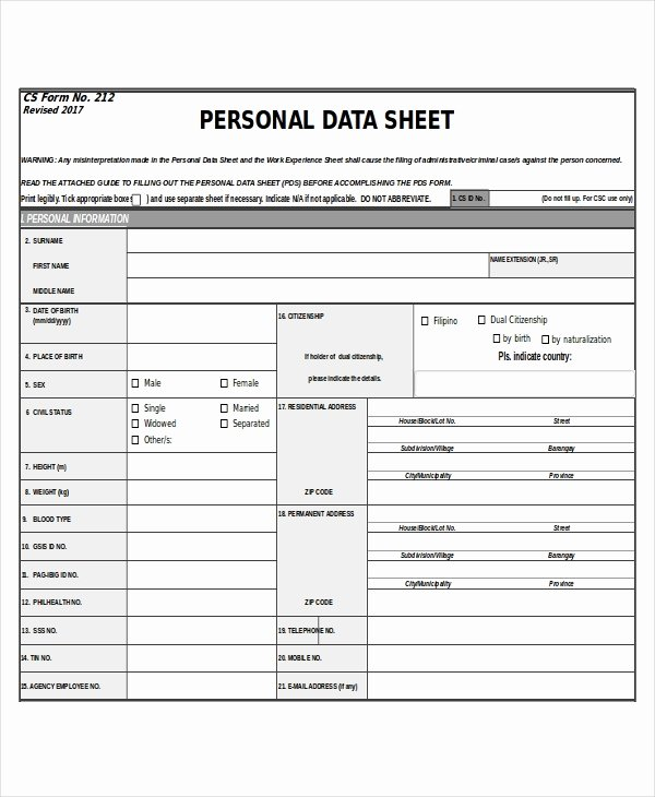Personal Data Sheet forms Awesome 27 Sheet Templates In Excel