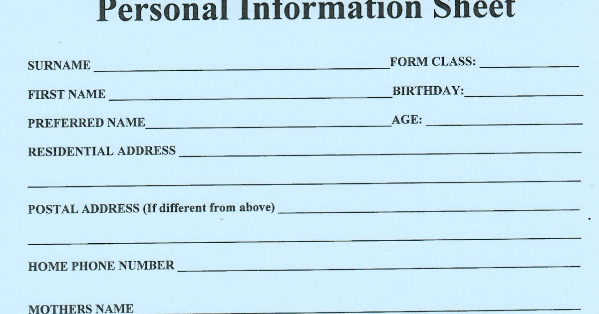 Personal Data Sheet forms Best Of 12pywghs2013 Personal Information Sheet