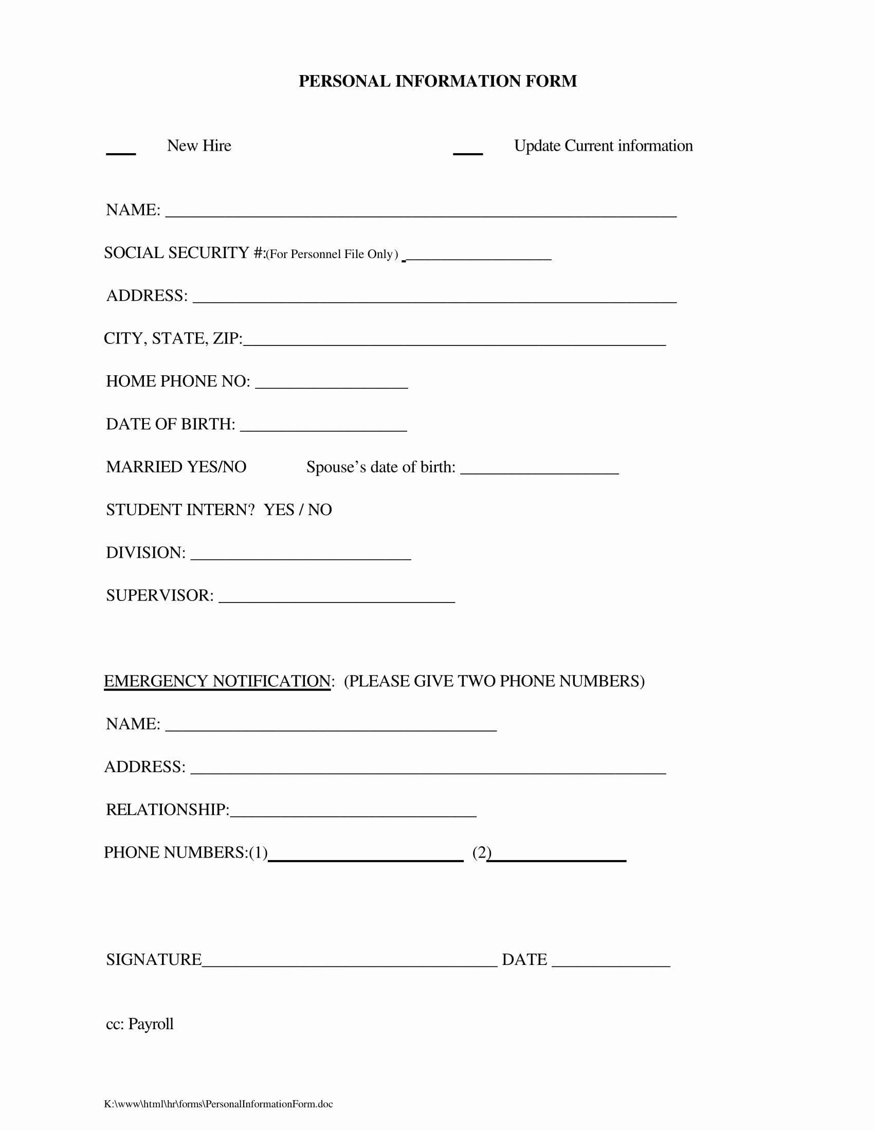Personal Data Sheet forms Elegant Free 14 Personal Information forms In Word Pdf