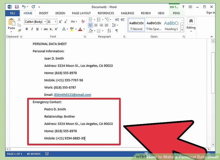 Make a Personal Data Sheet