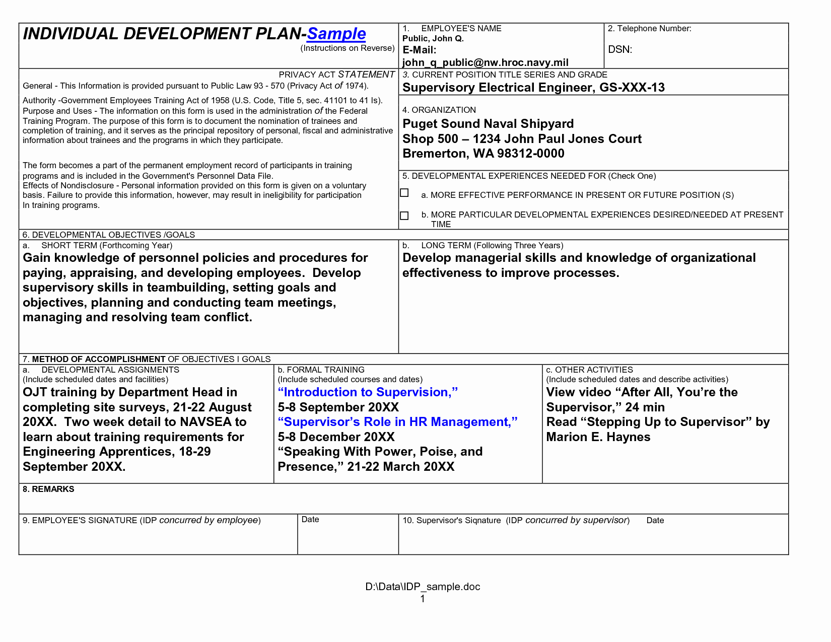 Personal Development Plan Sample Awesome Individual Development Plan Examples for It