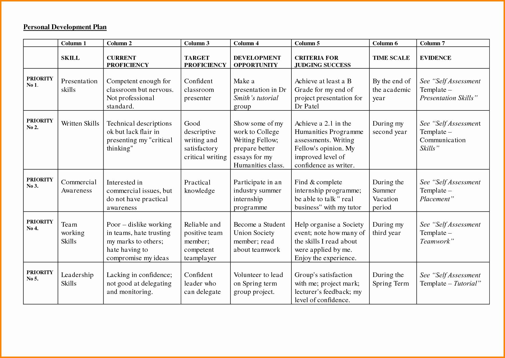 Personal Development Plan Sample Luxury 8 Personal Development Plan Sample