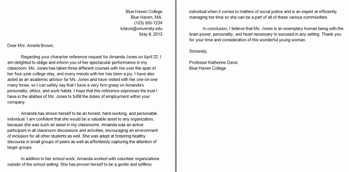 Personal Letters Of Recommendation Awesome 40 Awesome Personal Character Reference Letter