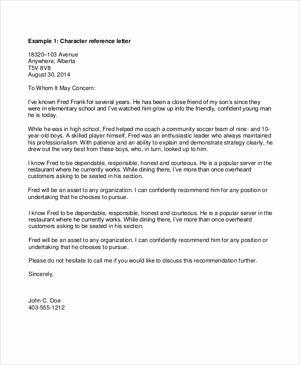 Personal Letters Of Recommendation Best Of Sample Personal Reference Letter 7 Documents In Pdf Word