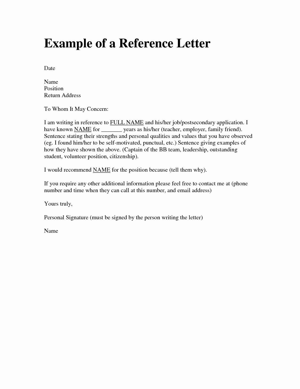 Personal Letters Of Recommendation Inspirational Personal Character Reference Letter for A Friend Sample