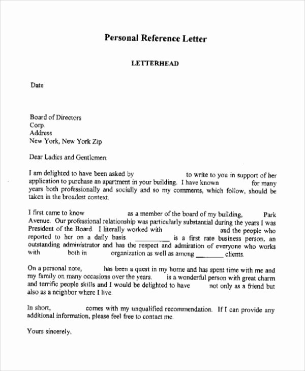 Personal Letters Of Recommendation Inspirational Sample Personal Reference Letter 7 Examples In Word Pdf