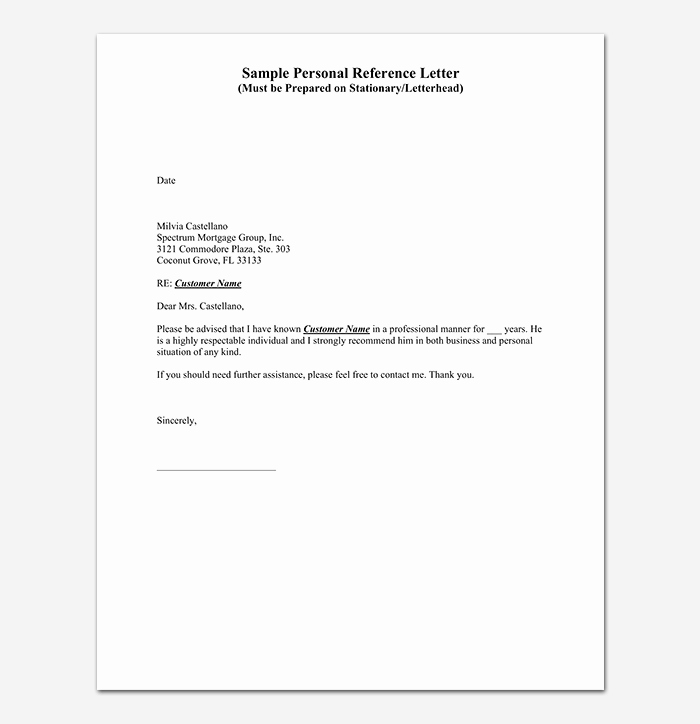 Personal Letters Of Recommendation New Reference Letter Template 28 Examples & Samples