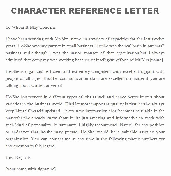 Personal Letters Of Recommendation Samples New 41 Free Awesome Personal Character Reference Letter