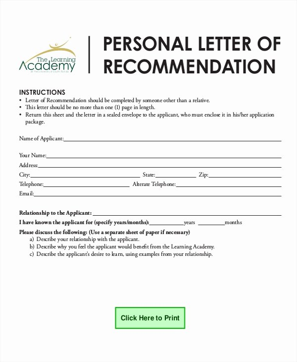Personal Letters Of Reference Fresh Sample Personal Reference Letter 7 Examples In Word Pdf