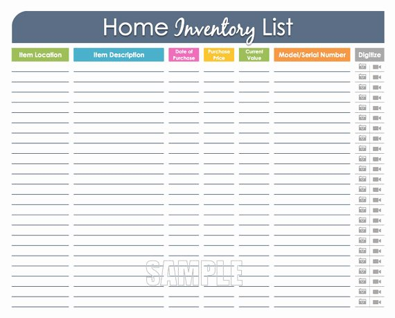 Personal Property Inventory Sheet New Home Inventory organizing Printable Editable Household